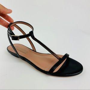 HUGO BOSS LEATHER Sandals Flats Gold Bar Metal 7.5